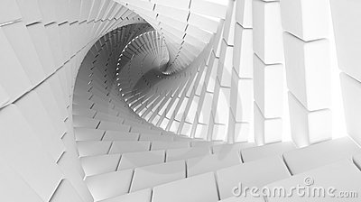 3d abstract  helix made of white chamfer boxes