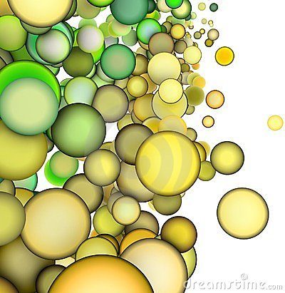 3d abstract multiple green yellow bubble