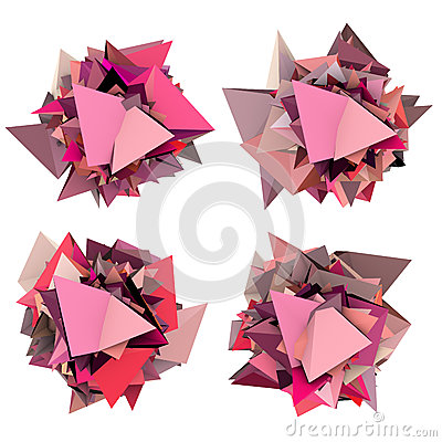 3d abstract pink spiked shape on white