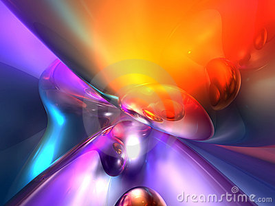 3D Abstract Purple Red Orange Color Glossy Render