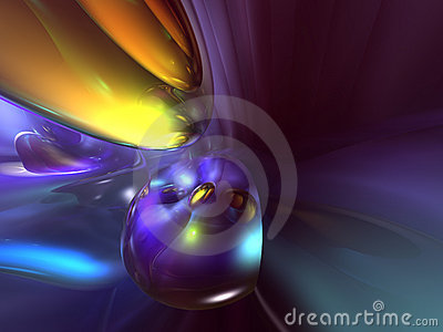 3D Abstract Purple Yellow Blue Color Background