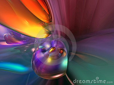 3D Abstract Purple Yellow Orange Colorful Wallpape
