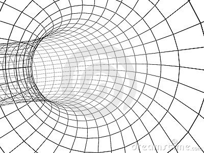 3d abstract tunnel from a grid