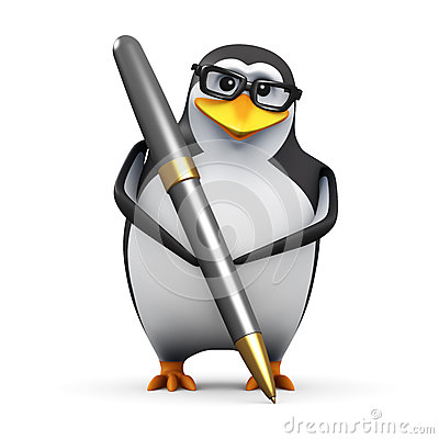 Free 3d Academic Penguin Writing With A Pen Stock Images - 45294304