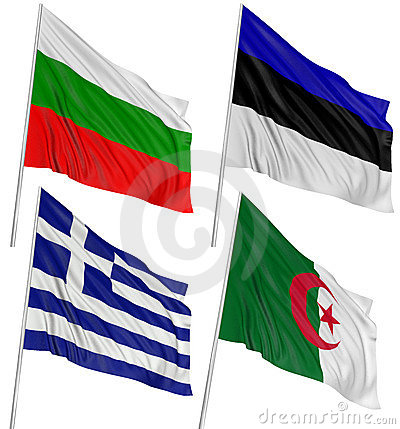 3D Algerian, Bulgarian, Greek, Estonian, flag