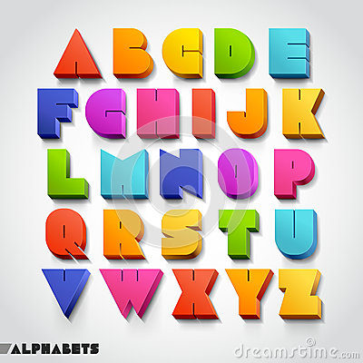 Free 3D Alphabet Colorful Font Style. Royalty Free Stock Images - 38943519