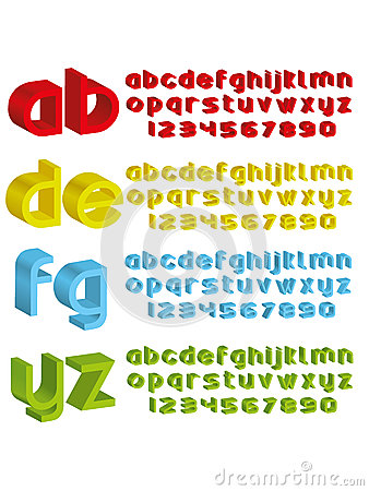 3d alphabet in different colours