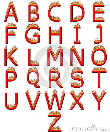 3D Alphabet on Fire