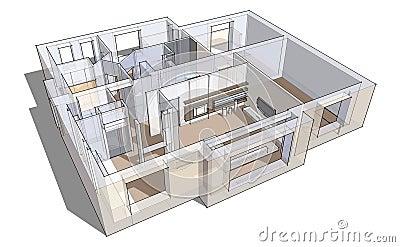 3d apartment sketch