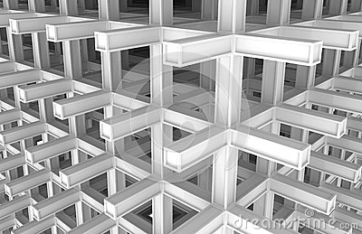 3d architecture monochrome abstract background