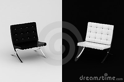 3d armchair studio shot black and white
