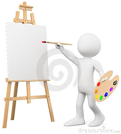 Free 3D Artist Painting On A Canvas On An Easel Royalty Free Stock Image - 23005296