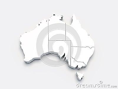 3d Australia szarość mapy biel