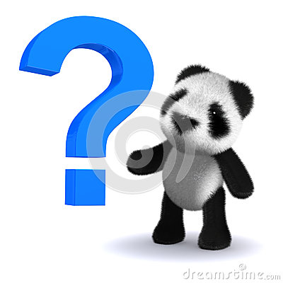 Free 3d Baby Panda Bear With A Question Mark Stock Photo - 43078180