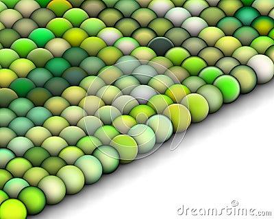 3d balls in multiple bright green