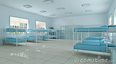 3d  bedroom, youth hostel dorm room