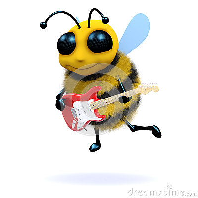 Free 3d Bee Guitarist Royalty Free Stock Photography - 38169207