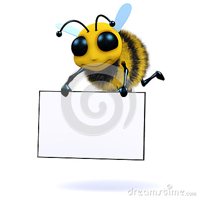 Free 3d Bee Holds A Banner Stock Image - 38772961