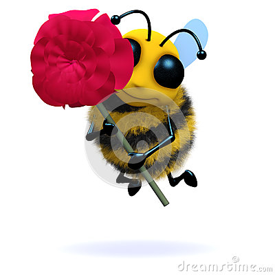 Free 3d Bee Holds A Red Rose Stock Images - 38102824