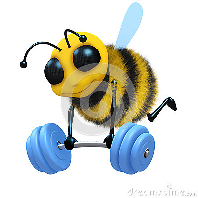 Free 3d Bee Weightlifter Royalty Free Stock Images - 38773389