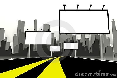 3d Billboard and road with city background