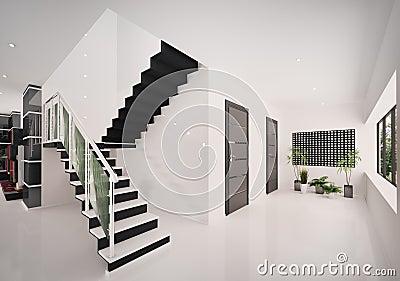 3d binnenland van moderne hal geeft terug royalty vrije stock afbeelding beeld 17383956. Black Bedroom Furniture Sets. Home Design Ideas