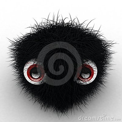 3D Black Hairy Cube with Eyes