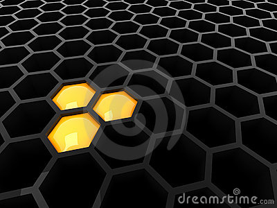3d black tech honeycomb