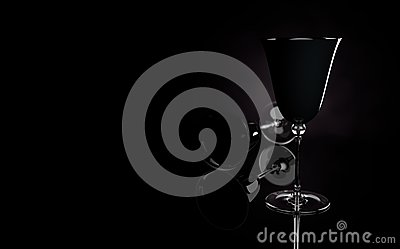 3d black wine glass