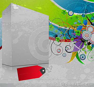 3d blanck box with grunge background