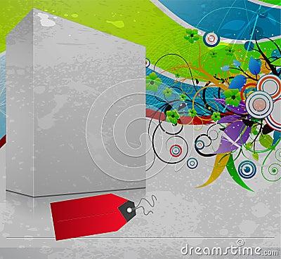 3d blanck box with grunge background