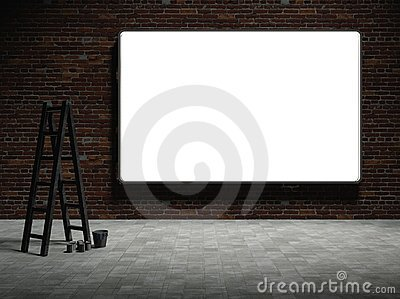 3d Blank advertising billboard on brick wall