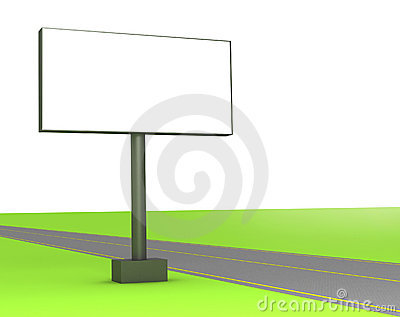 3d blank billboard on the street