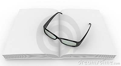 3d blank book with grasses
