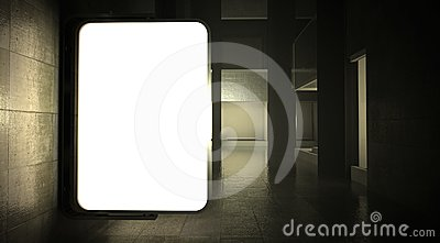 3d blank street advertising billboard on wall