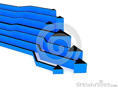 3d blauwe pijlenconcurrentie