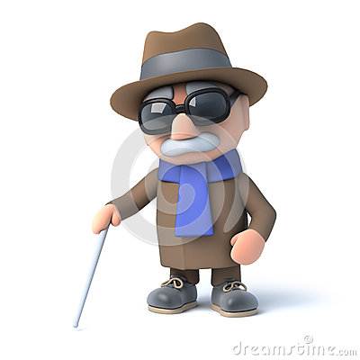 Free 3d Blind Man Walking With A Cane Royalty Free Stock Photos - 42759438