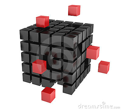 3d blocks red and black color.