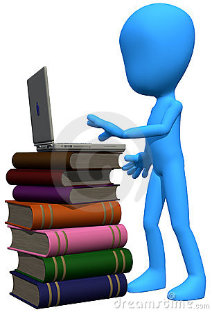 3d blue character books and laptop
