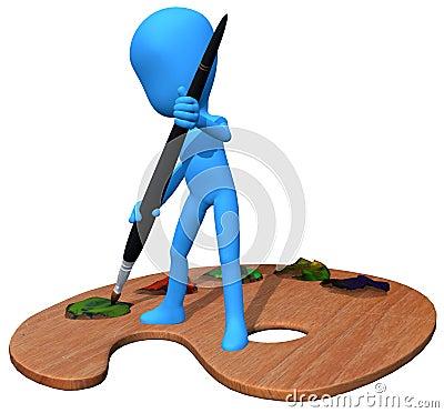 3d blue character paint
