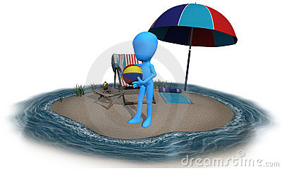 3d blue character summer time