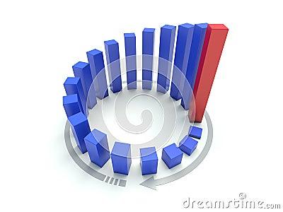 3D blue circular graph