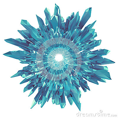 Free 3d Blue Crystal Flower Or Snowflake Shape Isolated Royalty Free Stock Image - 35347286