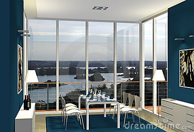 3D blue dining room