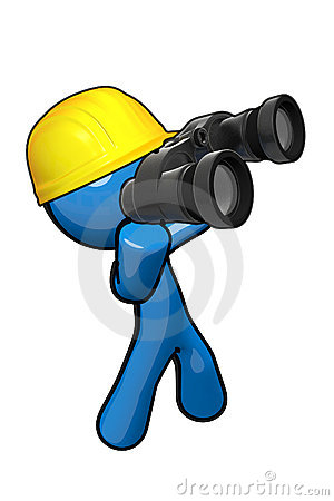3d Blue Man with hard hat and binoculars.