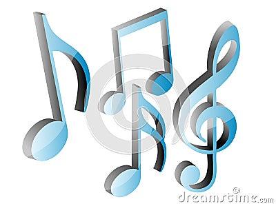 3D blue music notes set