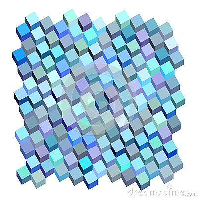 3d blue purple abstract fluid cube pattern