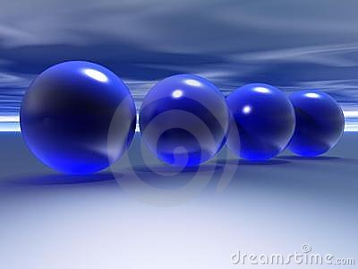 3D blue spheres