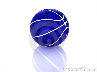 3d Blue Transparent Glossy Basketball Royalty Free Stock