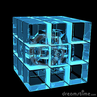 3D blue xray transparent rubics cube